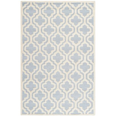 Martins Hand-Tufted Blue/Ivory Area Rug Rug Size: Rectangle 5 x 8