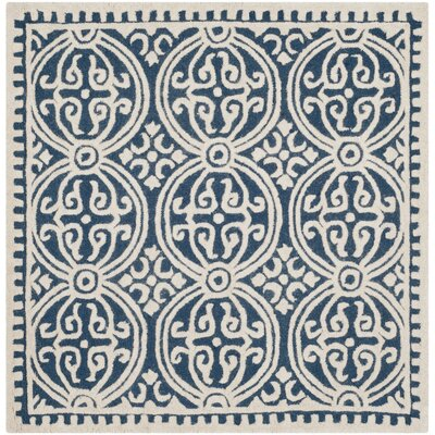 Fairburn Hand-Woven Wool Navy/Ivory Area Rug Rug Size: Square 4