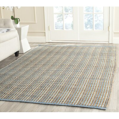 Abia Hand-Woven Gray/Tan Area Rug Rug Size: Square 6