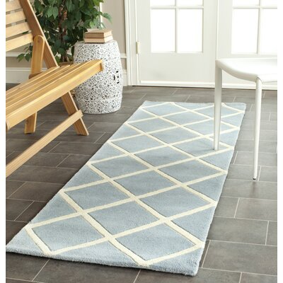 Eliza Hand-Tufted Blue/Ivory Area Rug Rug Size: Rectangle 6 x 9
