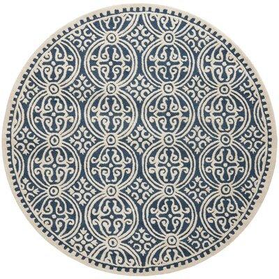 Fairburn H-Tufted Wool Navy Area Rug Rug Size: Round 4