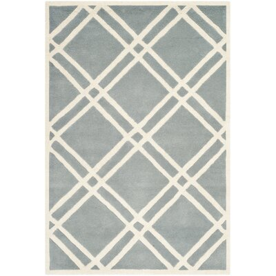 Wilkin Hand-Tufted Wool Blue/Ivory Area Rug Rug Size: Rectangle 5 x 8