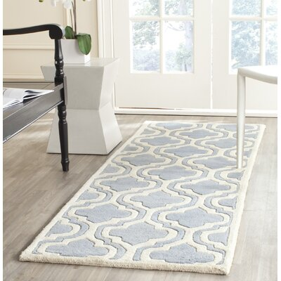 Wilkin Moroccan Hand-Tufted Wool Blue/Ivory Area Rug Rug Size: Rectangle 6 x 9
