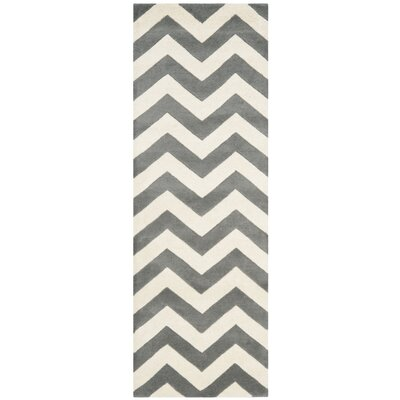 Wilkin Hand-Tufted Wool Dark Gray/Ivory Chevron Area Rug Rug Size: Runner 23 x 7