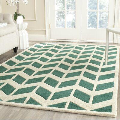 Wilkin Moroccan Hand-Tufted Wool Green/Ivory Area Rug Rug Size: Rectangle 4 x 6