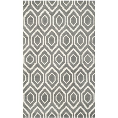 Wilkin Hand-Tufted Wool Dark Gray/Ivory Area Rug Rug Size: Rectangle 5 x 8