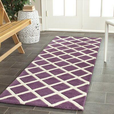 Wilkin Hand-Tufted Wool Purple/Ivory Area Rug Rug Size: Rectangle 6 x 9