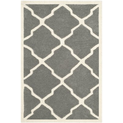 Wilkin Hand-Tufted Dark Gray/Ivory Area Rug Rug Size: Rectangle 3 x 5