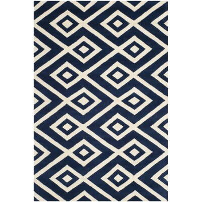 Wilkin Hand-Tufted Wool Dark Blue/Ivory Rug Rug Size: Rectangle 4 x 6