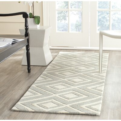 Wilkin Hand-Woven Gray/Ivory Area Rug Rug Size: Rectangle 89 x 12