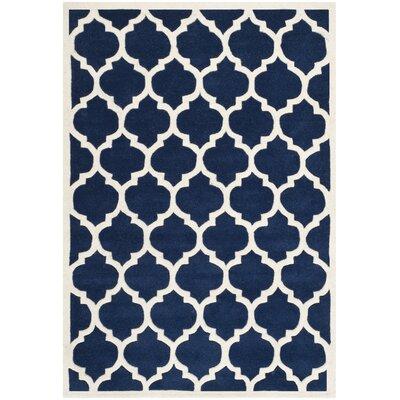 Wilkin Dark Blue & Ivory Moroccan Area Rug Rug Size: Rectangle 4' x 6'