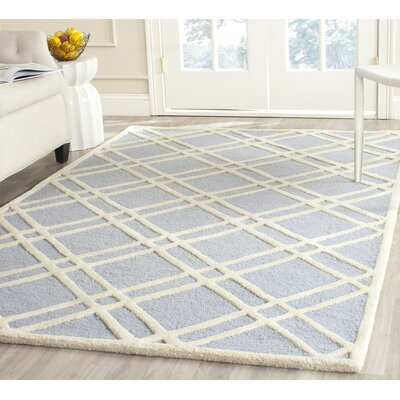 Martins Hand-Tufted Wool Light Blue/Ivory Area Rug Rug Size: Rectangle 5 x 8