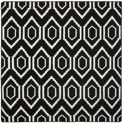 Crawford Hand-Woven Wool Black/Ivory Area Rug Rug Size: Round 8