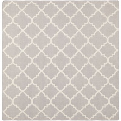 Dhurries Wool Ivory Area Rug Rug Size: Rectangle 6 x 6
