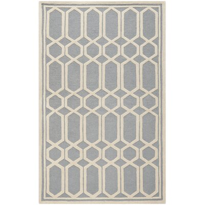 Harbin Hand-Tufted Gray/Ivory Area Rug Rug Size: Rectangle 4 x 6