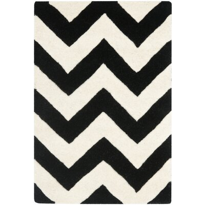 Wilkin Chevron Hand-Tufted Wool Ivory/Black Area Rug Rug Size: Rectangle 2' x 3'