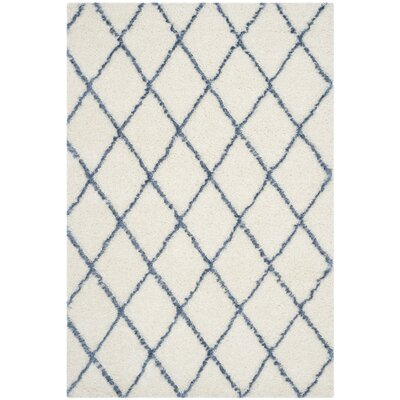Armstead Ivory/Blue Area Rug Rug Size: Rectangle 6 x 9