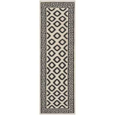 Dhurries Hand-Tufted Wool Brown/Ivory Area Rug Rug Size: Runner 2'6