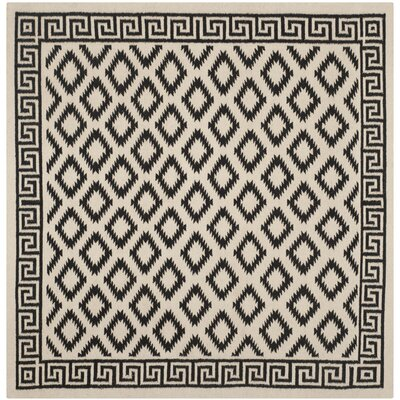Dhurries Hand-Tufted Wool Brown/Ivory Area Rug Rug Size: Square 6'