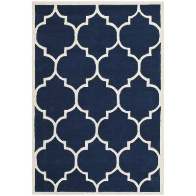 Wilkin Hand-Tufted Dark Blue/Ivory Area Rug Rug Size: Rectangle 4 x 6
