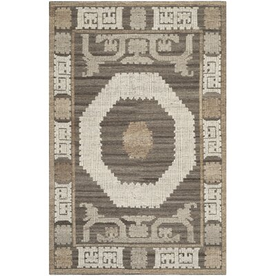 Gretta Hand-Tufted Wool Ivory/Brown Area Rug Rug Size: Rectangle 6 x 9
