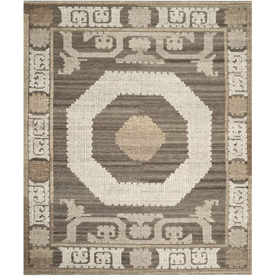 Gretta Hand-Tufted Wool Ivory/Brown Area Rug Rug Size: Rectangle 8 x 10