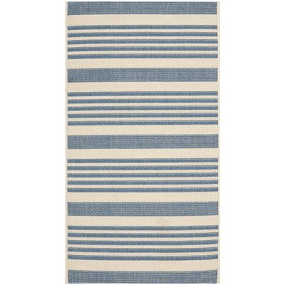 Kirts Blue/Beige Indoor/Outdoor Area Rug Rug Size: Rectangle 27 x 5