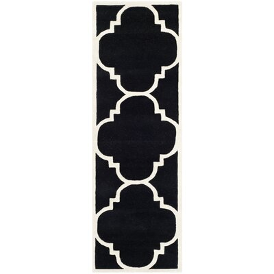 Wilkin Hand-Tufted Black/Ivory Area Rug Rug Size: Runner 23 x 9