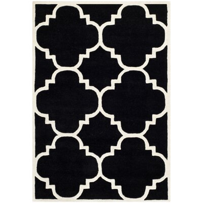 Wilkin Hand-Tufted Black/Ivory Area Rug Rug Size: Rectangle 4 x 6