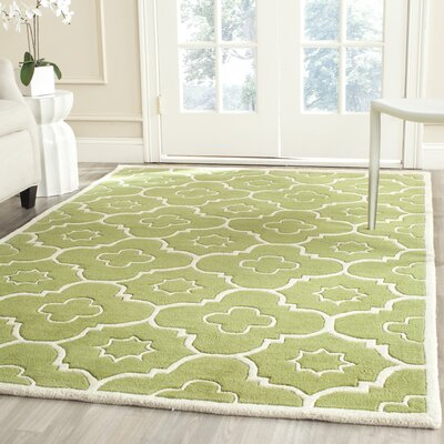 Wilkin Hand-Tufted Wool Green/Ivory Area Rug Rug Size: Rectangle 5 x 8
