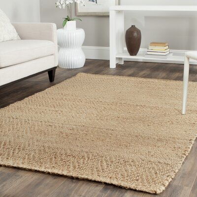 Michaels Hand-Loomed Beige Area Rug Rug Size: 5 x 8