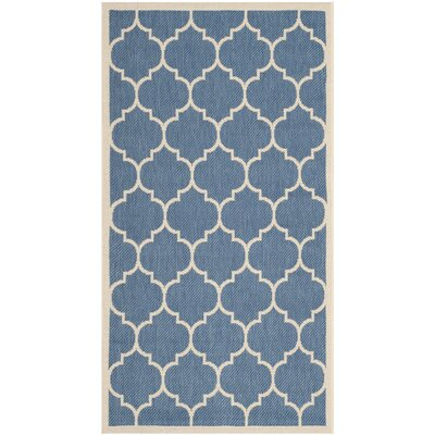 Short Blue/Beige Indoor/Outdoor Area Rug Rug Size: Rectangle 67 x 96