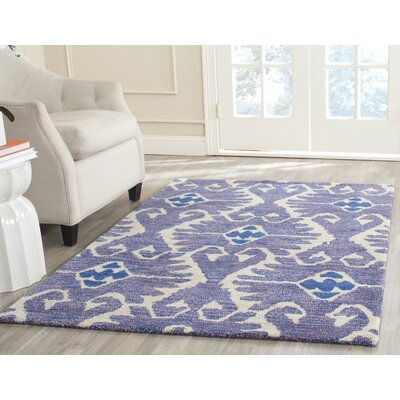 Kouerga Hand-Tufted Wool Lavender/Ivory Area Rug Rug Size: Rectangle 26 x 4