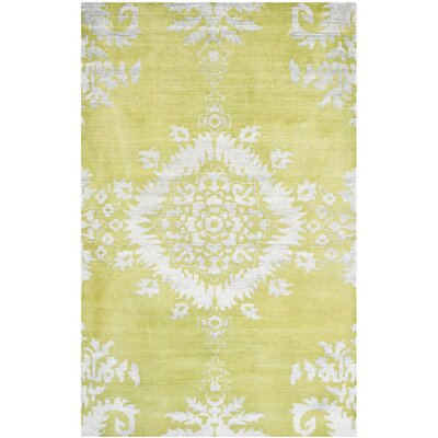 Collette Hand Woven Cotton Chartreuse Area Rug Rug Size: 4 x 6