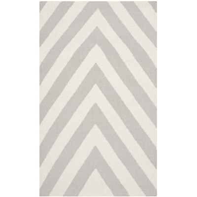 Dhurries Grey & Ivory Area Rug Rug Size: 4 x 6