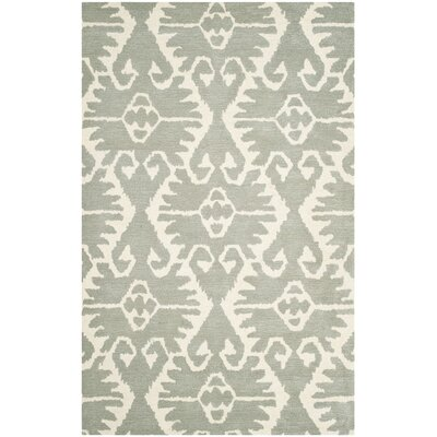 Kouerga Gray/Ivory Area Rug Rug Size: Rectangle 4 x 6