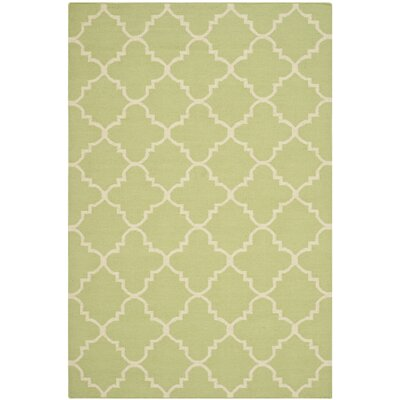 Hand-Woven Light Green/Ivory Area Rug Rug Size: Rectangle 4 x 6