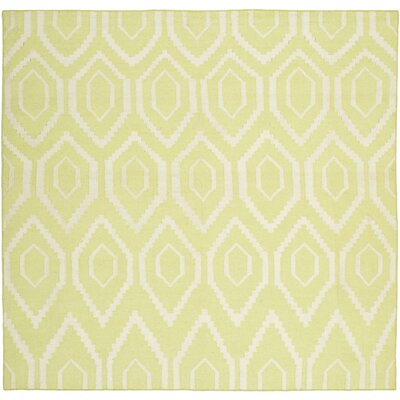 Yellow/Ivory Area Rug Rug Size: Square 6
