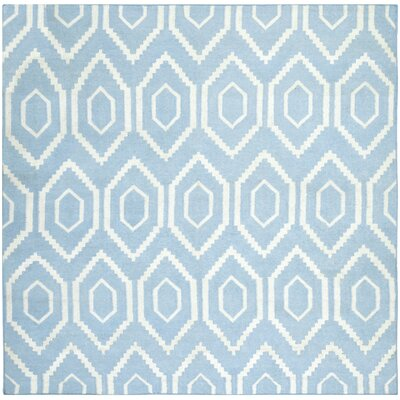 Gem Jam Hand-Woven Wool Blue/Ivory Area Rug Rug Size: Square 6