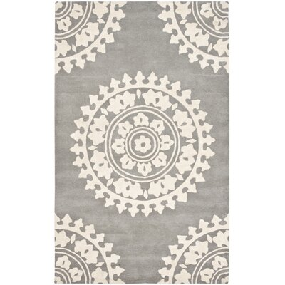 Hawley Hand-Woven Gray Area Rug Rug Size: Rectangle 5 x 8