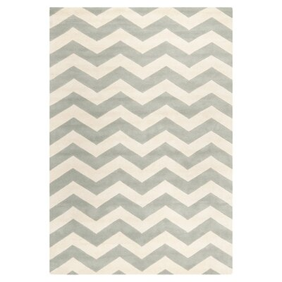 Wilkin Chevron Hand-Tufted Wool Gray/Ivory Area Rug Rug Size: Rectangle 89 x 12