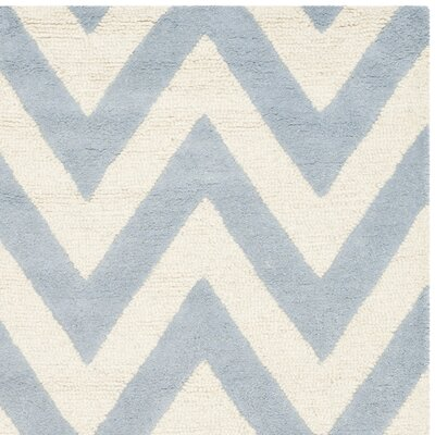 Charlenne Hand-Tufted Wool Light Blue/Ivory Area Rug Rug Size: Rectangle 6 x 6