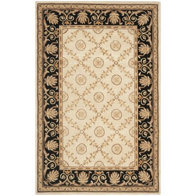 Naples Hand-Tufted Wool Ivory/Black Area Rug Rug Size: Rectangle 6 x 9
