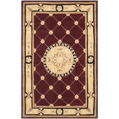 Naples Hand-Tufted Wool Burgundy/Ivory Area Rug Rug Size: Rectangle 26 x 46