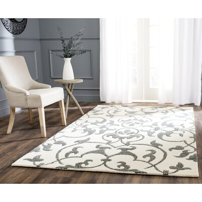Rhona Hand-Tufted Ivory/Grey Contemporary Area Rug Rug Size: Rectangle 36 x 56