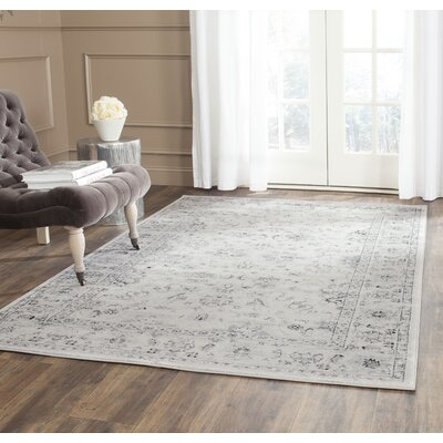 Rindge Gray/Ivory Area Rug Rug Size: Rectangle 51 x 77