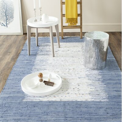 Static Hand-woven Blue/Ivory Area Rug Rug Size: Rectangle 5 x 8