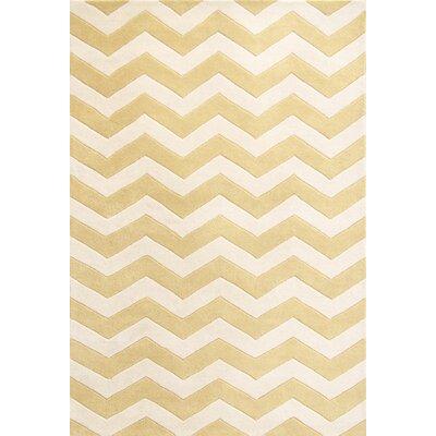 Averett Hand-Tufted Light Gold/Ivory Area Rug Rug Size: Rectangle 5 x 8