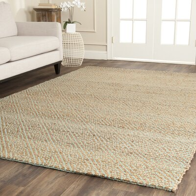 Richmond Hand-Woven Natural/Mint Green Indoor Area Rug Rug Size: Rectangle 4 x 6