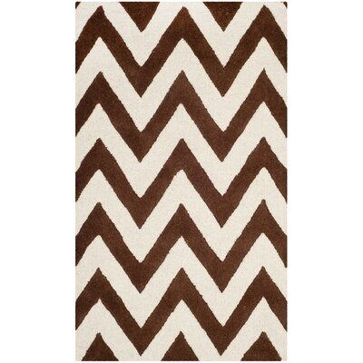 Charlenne Dark Brown/Ivory Area Rug Rug Size: 3 x 5